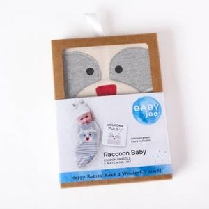 BABYJOE One Pieces - Raccoon Baby Set - Swaddle, Hat and Card